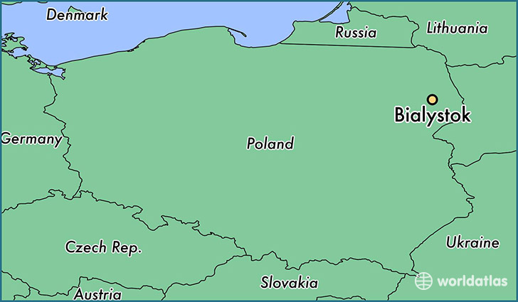 map showing the location of Bialystok