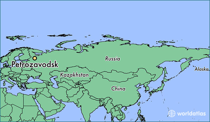 map showing the location of Petrozavodsk