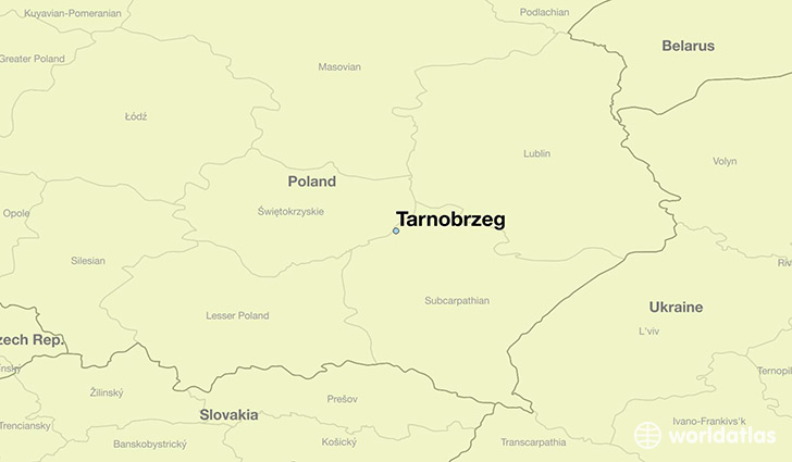 map showing the location of Tarnobrzeg