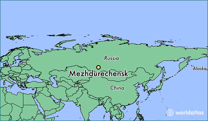 map showing the location of Mezhdurechensk