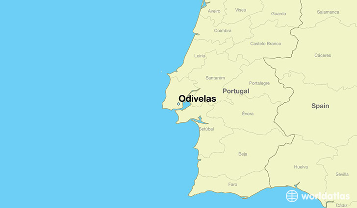 map showing the location of Odivelas