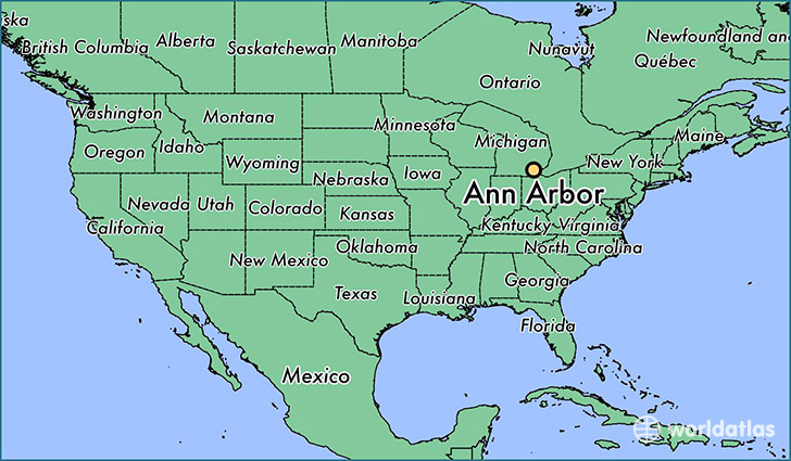 Where is Ann Arbor MI Ann Arbor Michigan Map WorldAtlascom