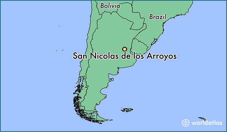 map showing the location of San Nicolas de los Arroyos