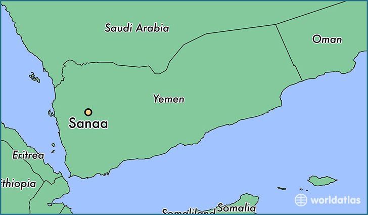 map showing the location of Sanaa