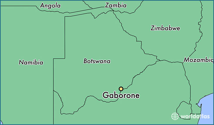 map showing the location of Gaborone