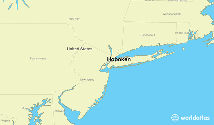 map showing the location of Hoboken