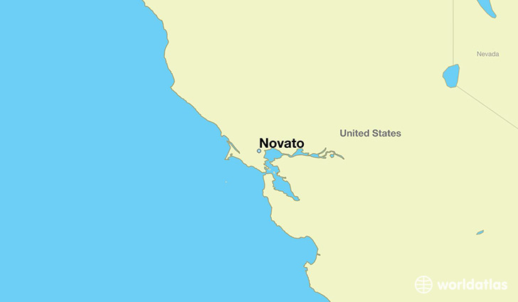 map showing the location of Novato