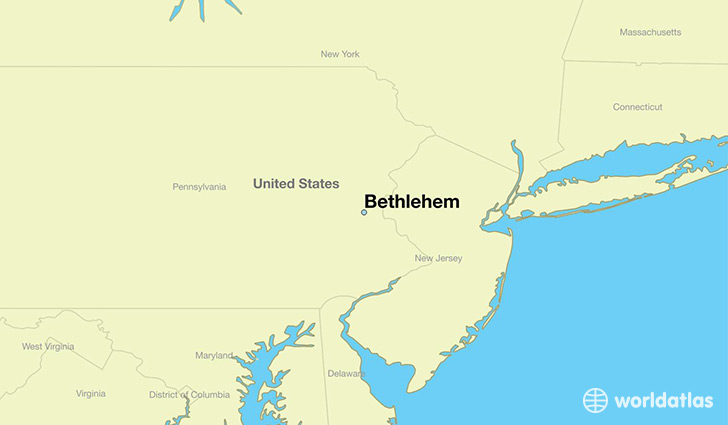 Map Of Bethlehem Where is Bethlehem, PA? / Bethlehem, Pennsylvania Map   WorldAtlas.com