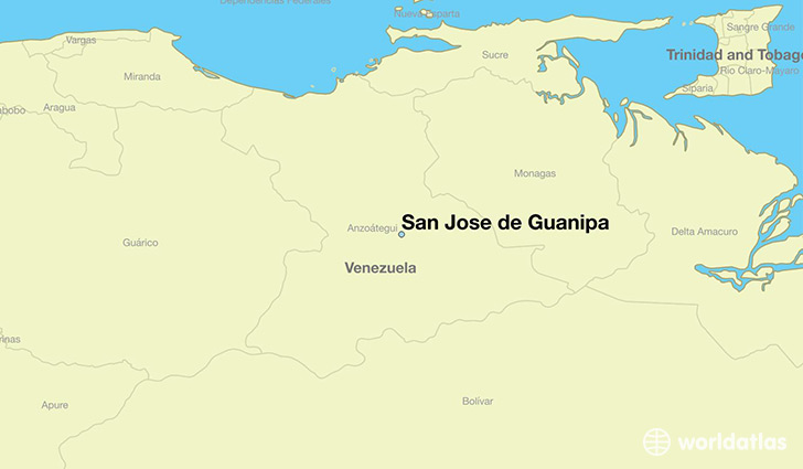 map showing the location of San Jose de Guanipa