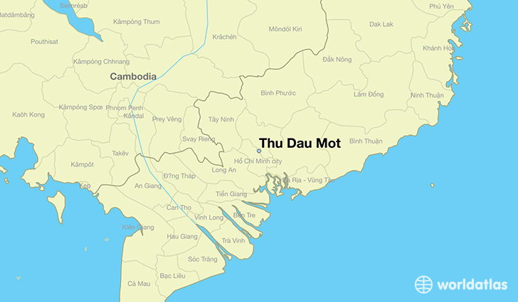 map showing the location of Thu Dau Mot
