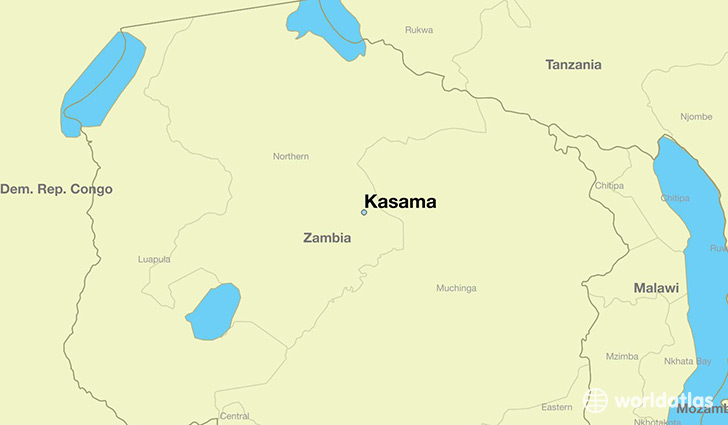 map showing the location of Kasama