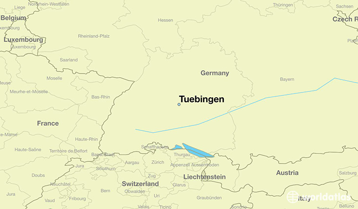 map showing the location of Tuebingen