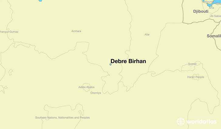 map showing the location of Debre Birhan
