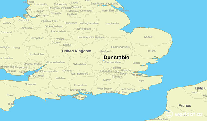 map showing the location of Dunstable
