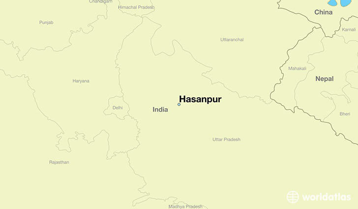 map showing the location of Hasanpur