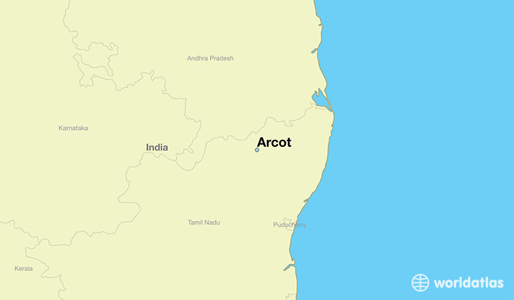 map showing the location of Arcot