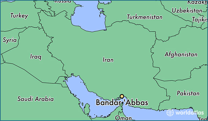 map showing the location of Bandar 'Abbas