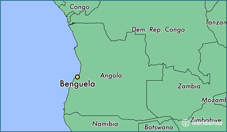 map showing the location of Benguela