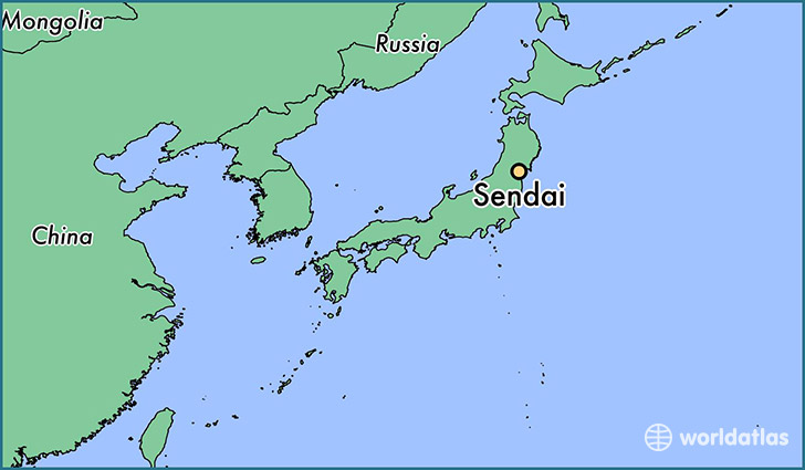 map showing the location of Sendai