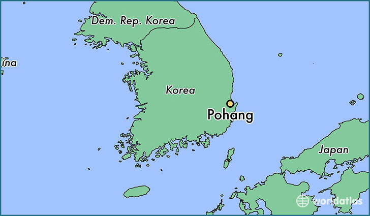map showing the location of Pohang