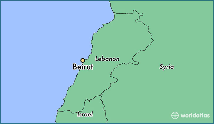 map showing the location of Beirut