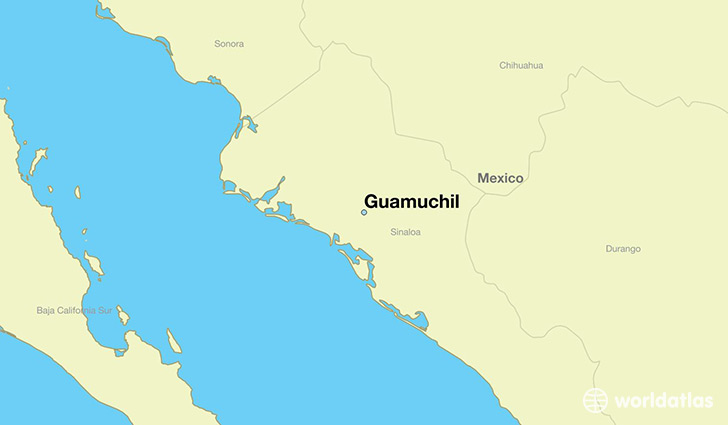 map showing the location of Guamuchil