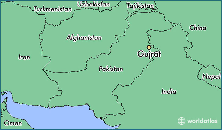 map showing the location of Gujrat