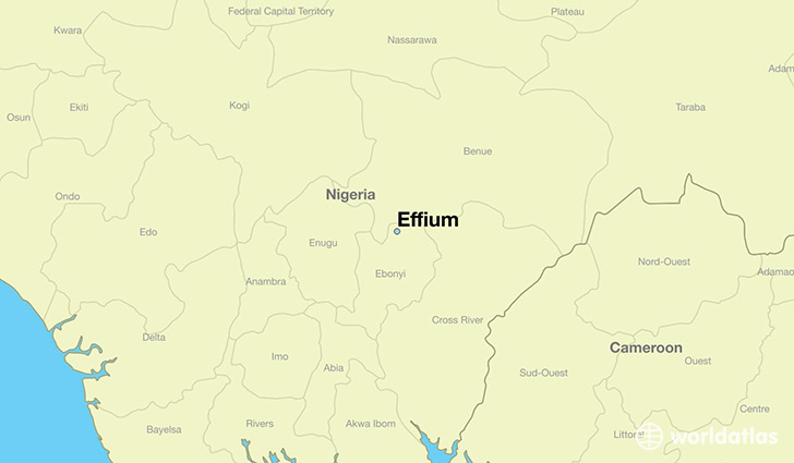 map showing the location of Effium