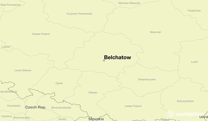map showing the location of Belchatow