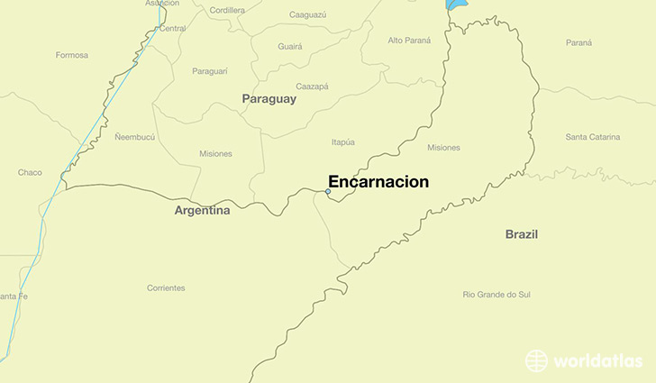 map showing the location of Encarnacion