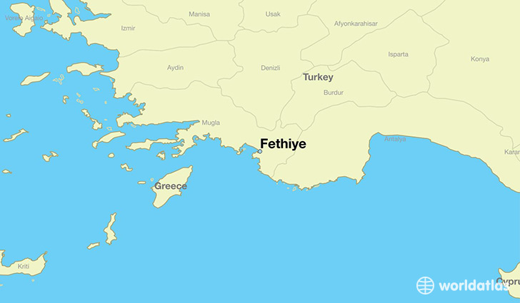 map showing the location of Fethiye