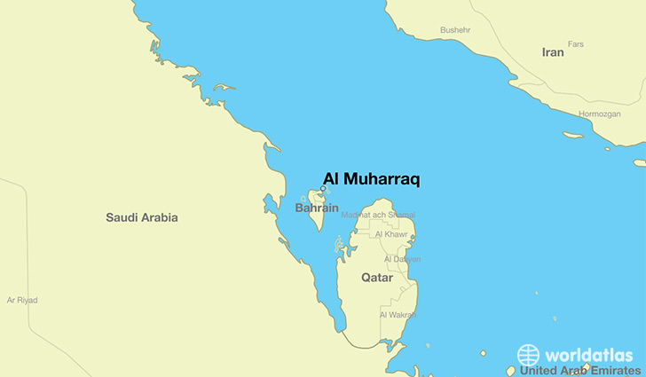 map showing the location of Al Muharraq