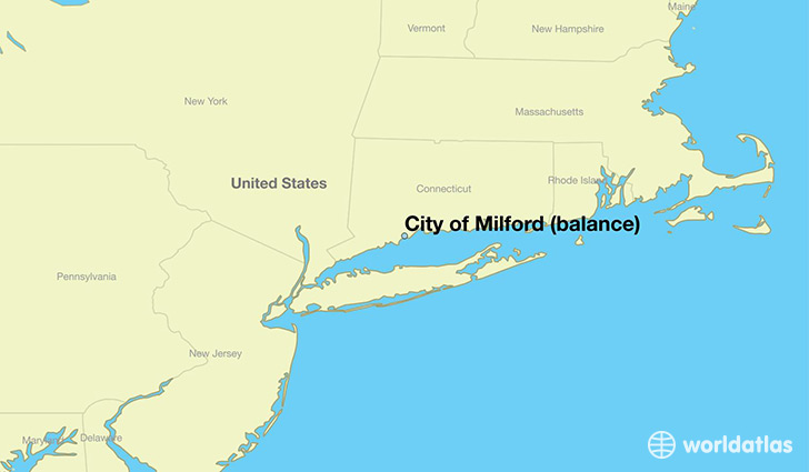 map showing the location of City of Milford (balance)