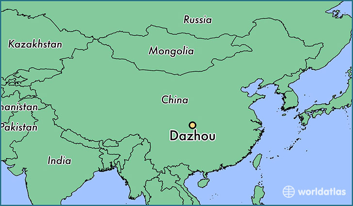 map showing the location of Dazhou
