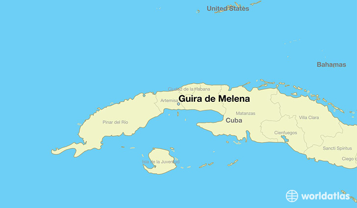 map showing the location of Guira de Melena