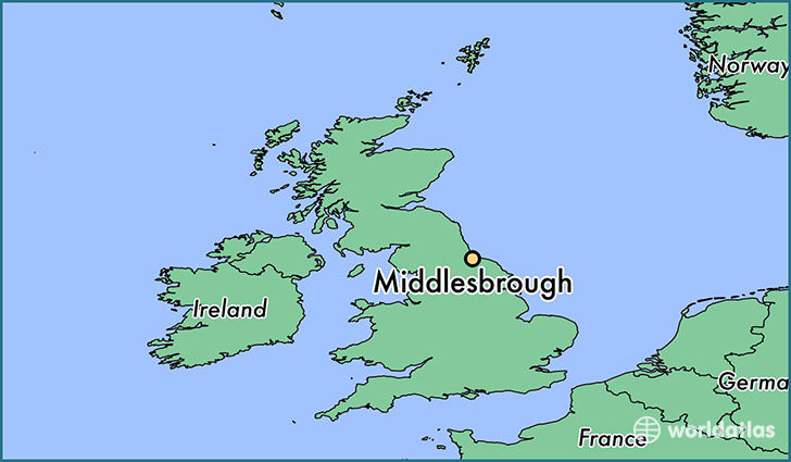 map showing the location of Middlesbrough