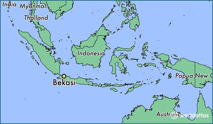 map showing the location of Bekasi