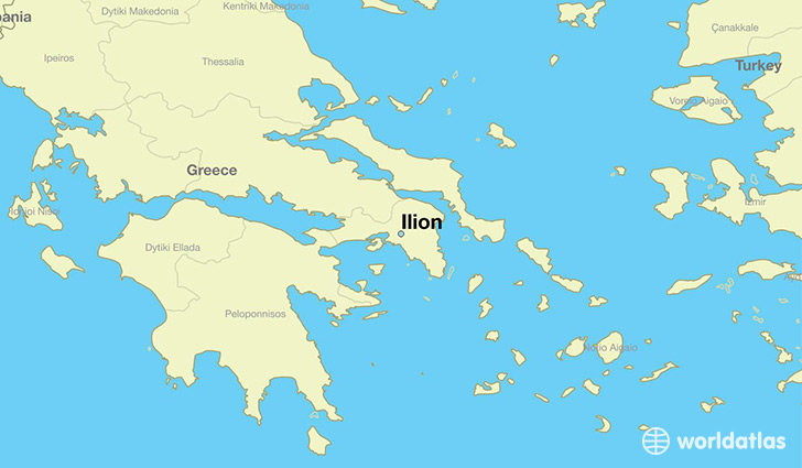 map showing the location of Ilion