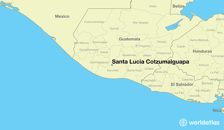 map showing the location of Santa Lucia Cotzumalguapa