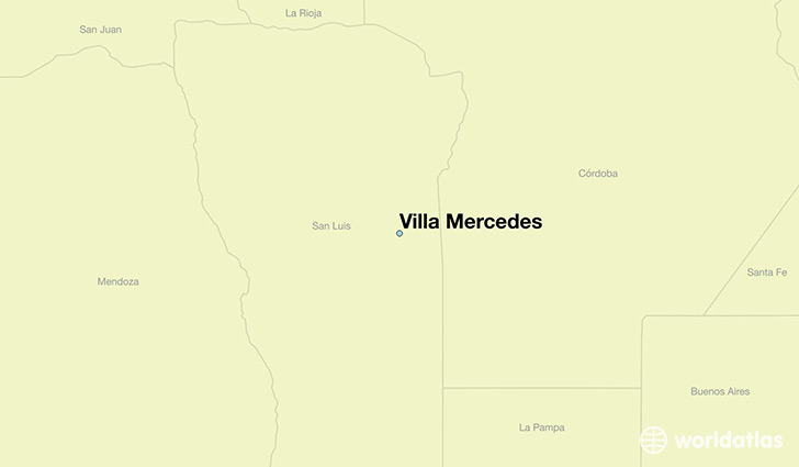 map showing the location of Villa Mercedes