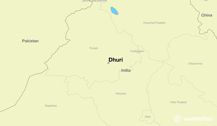 map showing the location of Dhuri