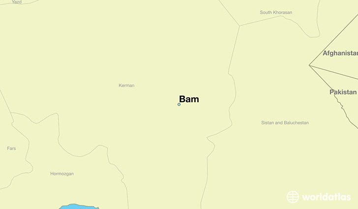 map showing the location of Bam
