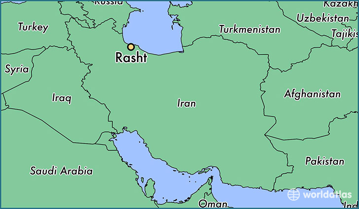 map showing the location of Rasht
