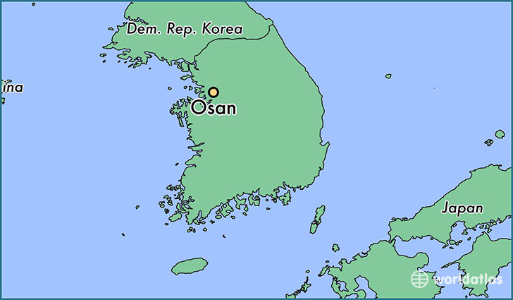 map showing the location of Osan