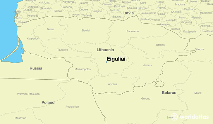 map showing the location of Eiguliai