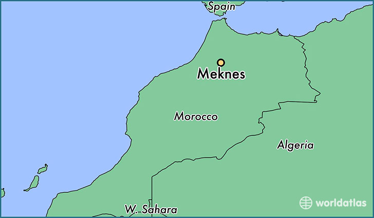 map showing the location of Meknes