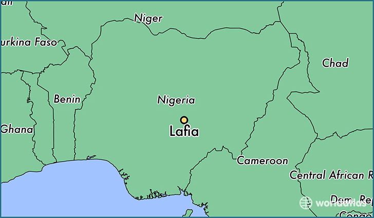 map showing the location of Lafia