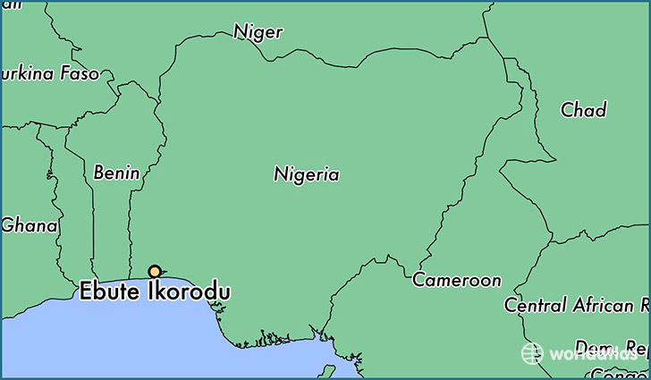 map showing the location of Ebute Ikorodu