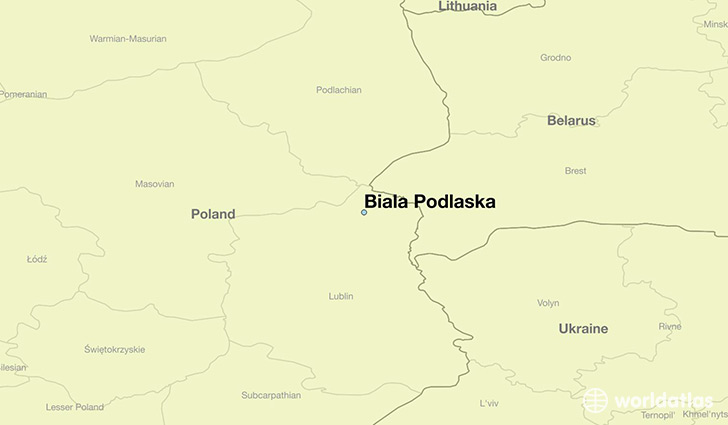 map showing the location of Biala Podlaska