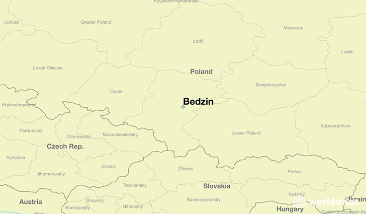 map showing the location of Bedzin